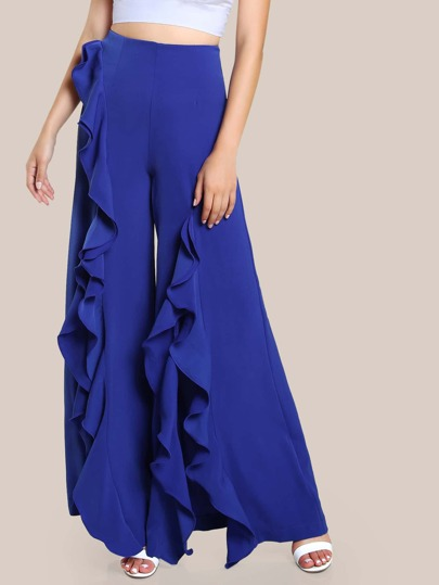 Ruffle Trim High Rise Pants ROYAL BLUE