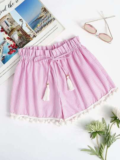 Vertical Striped Drawstring Pompom Shorts