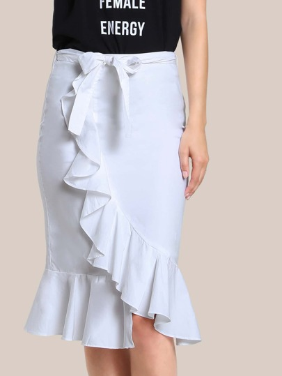 Ruffle Hem Bodycon Skirt WHITE
