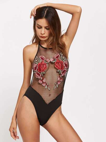 Embroidered Appliques Backless Fishnet Bodysuit