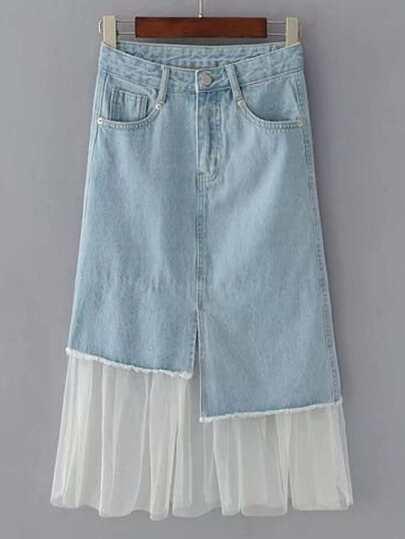 Contrast Mesh Frayed Detail Denim Skirt