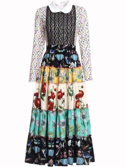 Color Block Floral Flounce Splice Dress