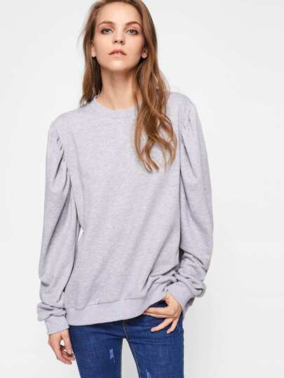 Gigot Sleeve Heather Knit Sweatshirt