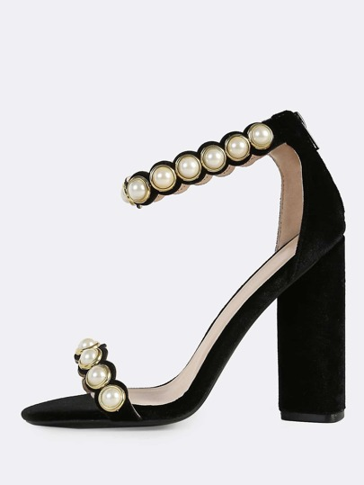 Velvet Pearl Band Heels BLACK