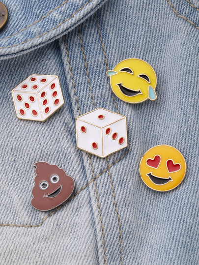 Dice And Emoji Design Brooch Set