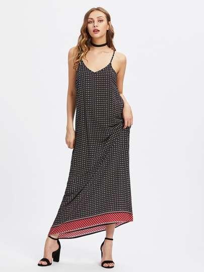 Calico Print Full Length Cami Dress