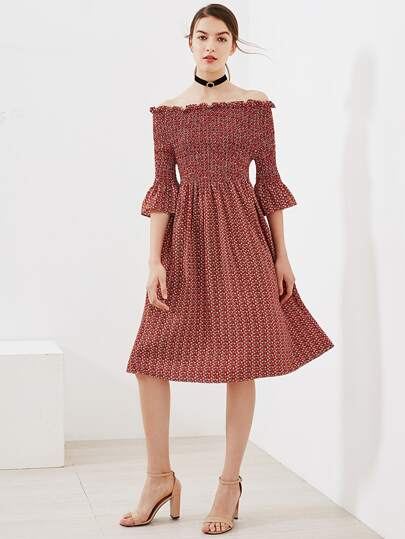 Boat Neckline Bell Sleeve Pleated Dress