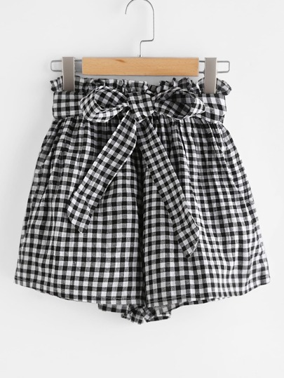 Checked Elastic Waist Self Tie Front Shorts