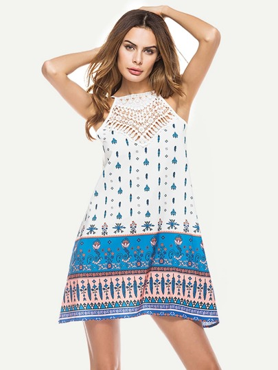 Hollow Out Crochet Panel Vintage Print Cami Dress