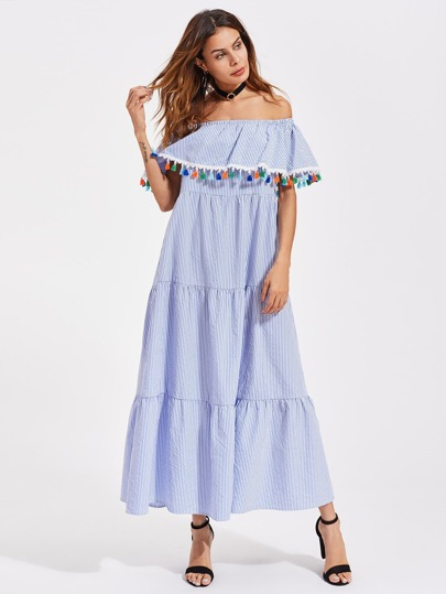 Colorful Tassel Trim Tiered Flounce Bardot Dress