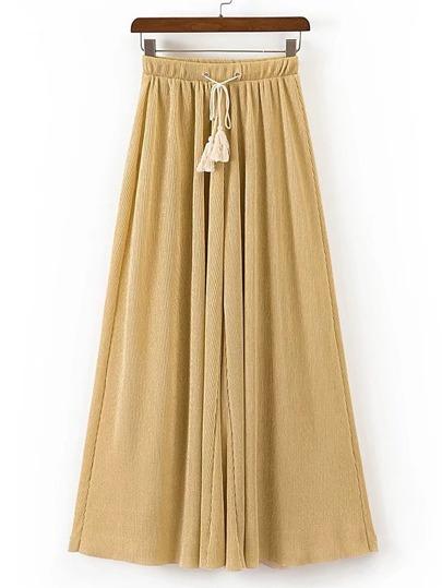 Pantalons jambe large avec des franges et une ceinture