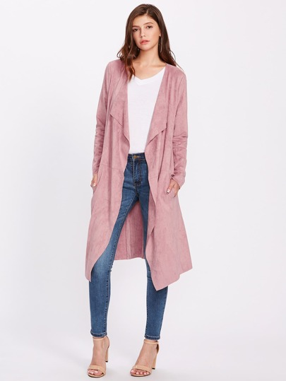 Waterfall Collar Suede Duster Coat