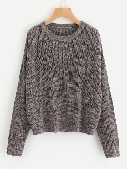 Drop Shoulder Marled Knit Jumper
