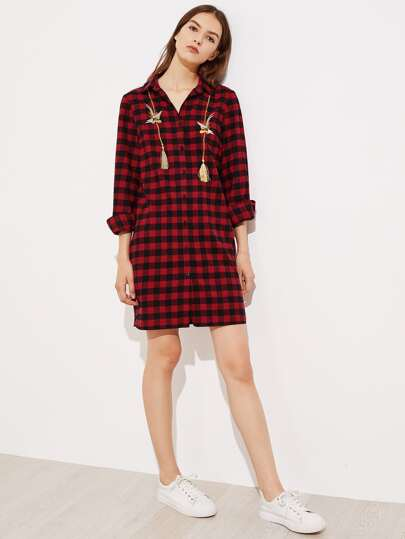Bird Embroidery Tassel Embellished Shirt Dress