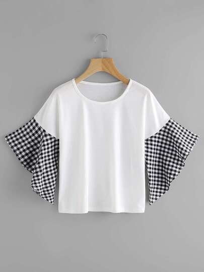 Contrast Gingham Fluted Sleeve Tee
