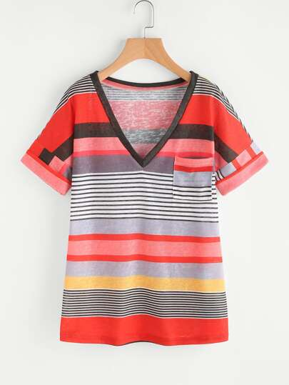 V-neckline Cuffed Striped Tee
