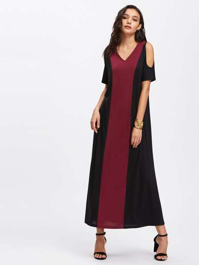 Contrast Cut And Sew Cold Shoulder Dress