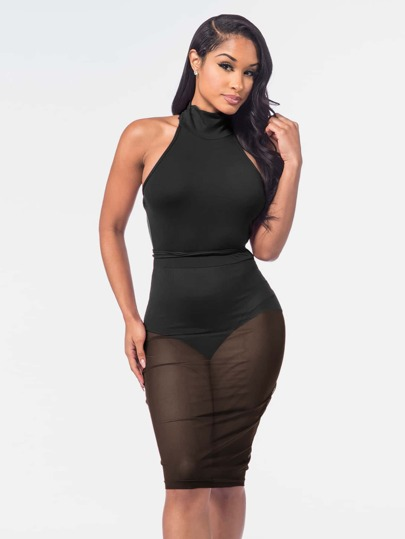 Lace Up Backless Sheer Overlay Bodysuit Dress