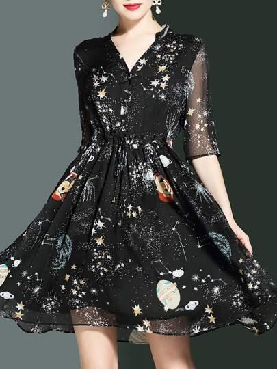 V Neck Stars Print Elastic-Waist Dress