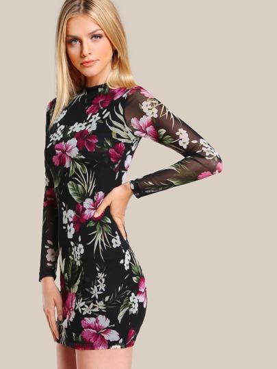 Floral Print Mesh Sleeve Bodycon Dress BLACK