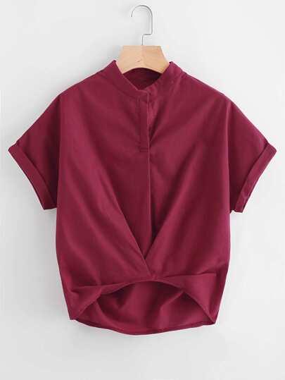 Bluse mit abfallendem Saum und Plissee