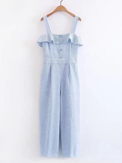 Cami Straps Ruffle Trim Pinstripe Jumpsuit