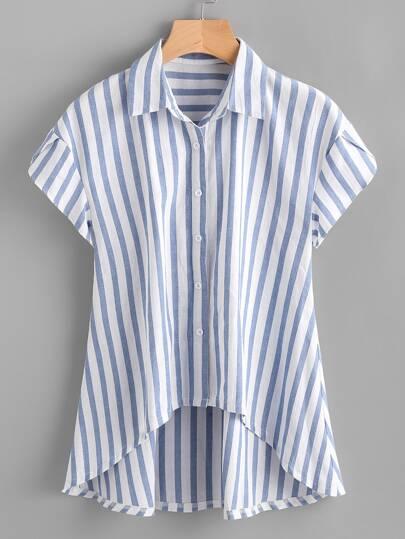 Bluse mit Streifen, Petalärmeln und abfallendem Saum