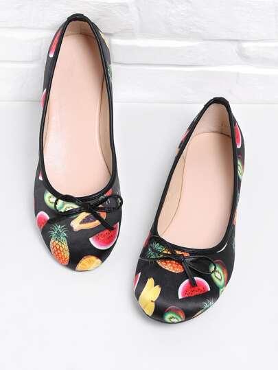 Scarpe piatte con stampa di frutta
