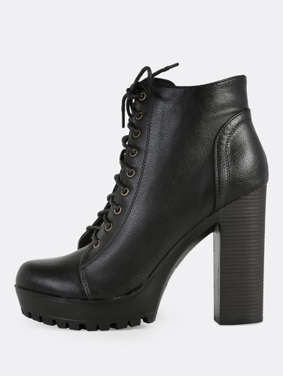 Front Lace Up Zip Up Heel Booties BLACK