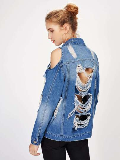 SHEIN                                Open Shoulder Distressed Boyfriend Denim Jacket