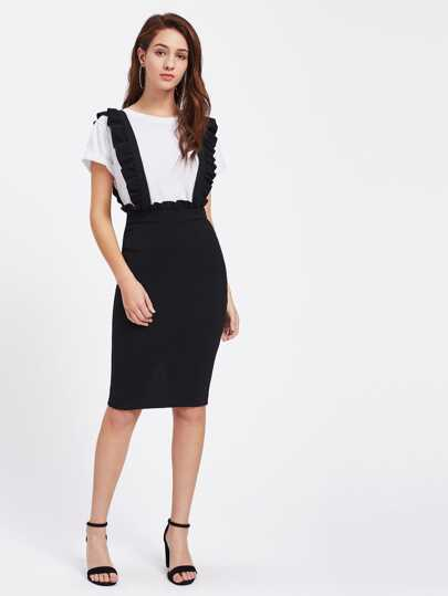 Frill Detail Pinafore Skirt