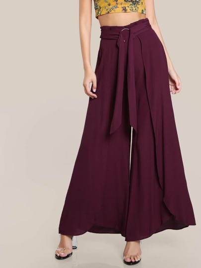 High Rise O Ring Pants BURGUNDY