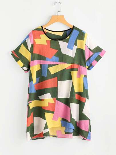 Abstract Geo Print Dip Hem Tee Dress