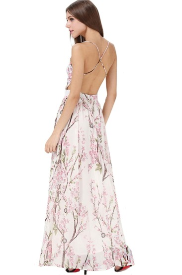 Hibiscus Florals V-neck Spaghetti Straps Backless Maxi Dress