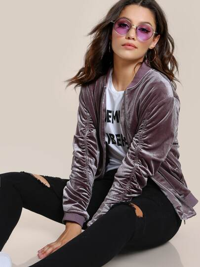 Ruched Velvet Zip Up Bomber Jacket