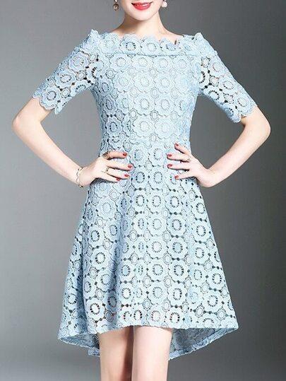 Crochet Hollow Out High Low Dress