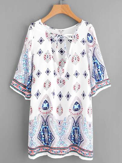 Plunge Tie Neck Ornate Print Dress