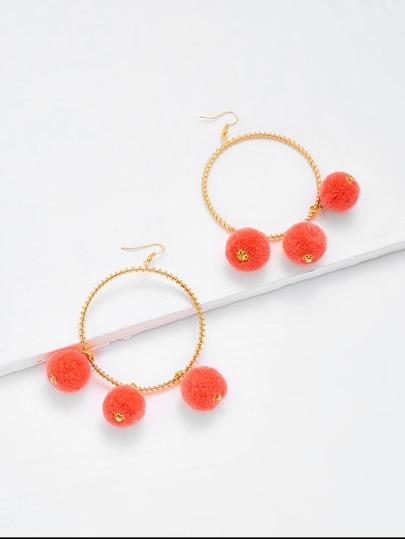 Pom Pom Decorated Hoop Drop Earrings