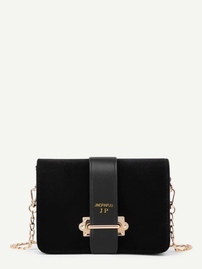 Metal Detail Flap Velvet Chain Bag