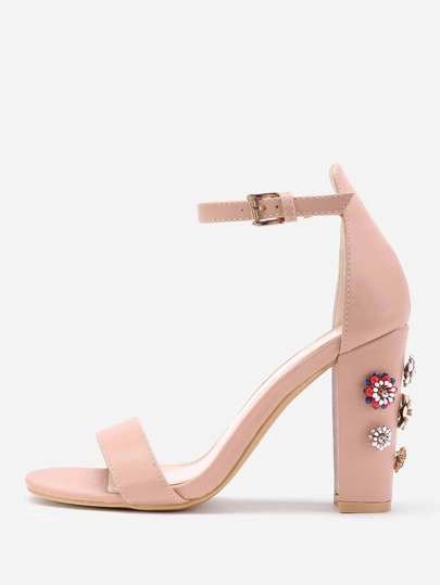 Sandales à talons hauts détail de fleur et strass