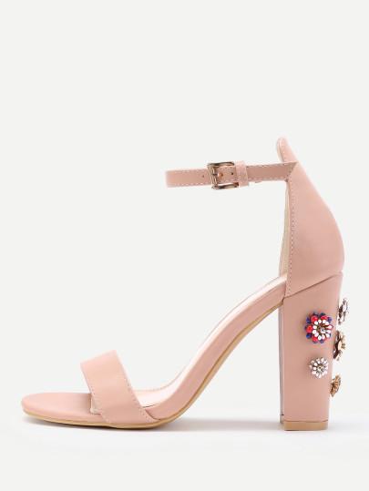 Rhinestone Flower Detail Blocked Heeled Sandals