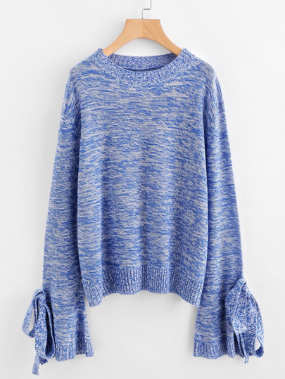 Marled Knit Bow Tie Fluted Sleeve Jumper