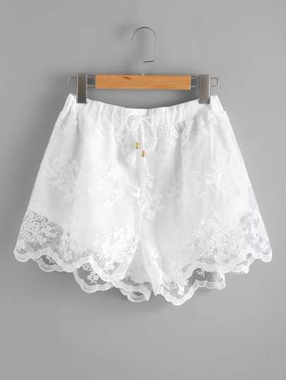 Scallop Hem Embroidered Mesh Overlay Shorts