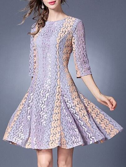 Color Block Lace A-Line Dress
