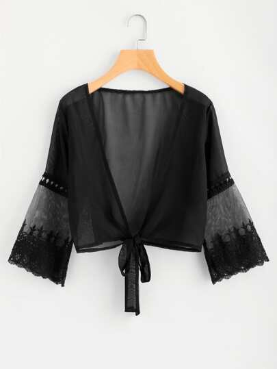 Tie Front Lace Paneled Sheer Kimono