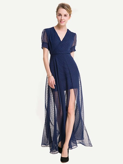 Dobby Mesh Overlay Surplice Neckline Split Dress