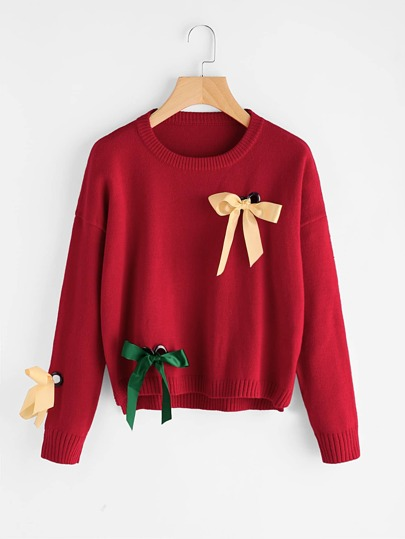 Eyelet And Bow Embellished Jumper