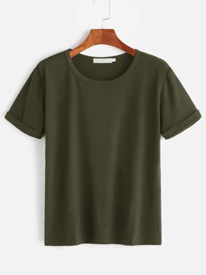 Tee-shirt basique poignet relevé