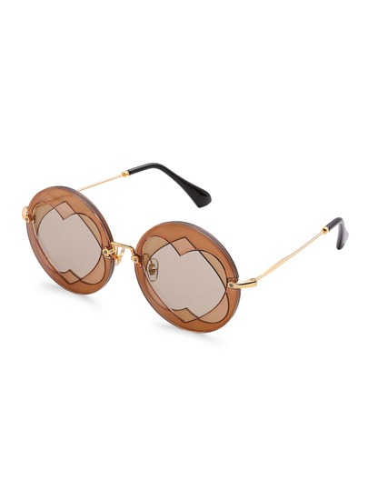 Layered Heart Round Sunglasses