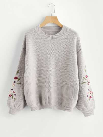 Flower Embroidered Bishop Sleeve Jumper